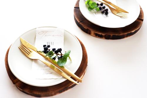 焼きヒノキの薄型丸太ボード(2枚セット)