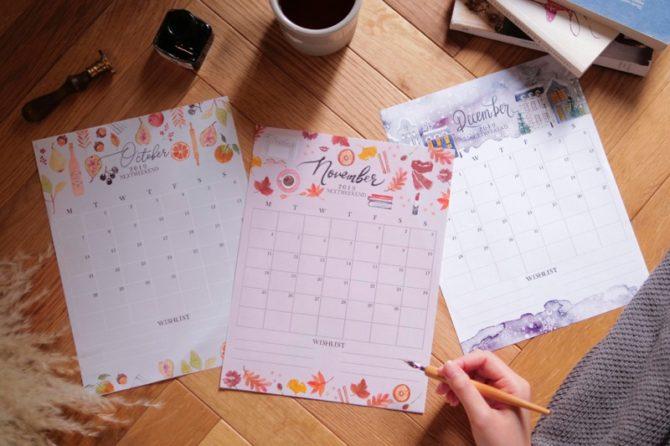 【無料】#今日の小仕事 カレンダー(2019年10月・11月・12月分)