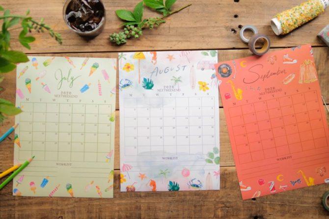 【無料】#今日の小仕事 カレンダー(2020年7月・8月・9月分)
