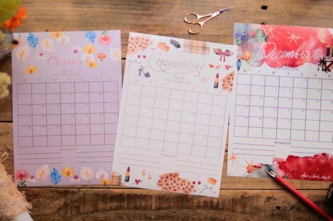 【無料】#今日の小仕事 カレンダー(2020年10月・11月・12月分)