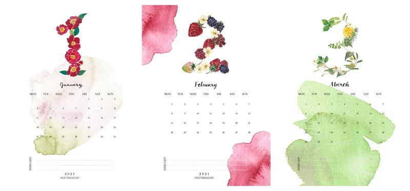 【無料】#今日の小仕事 カレンダー(2021年1月・2月・3月分) 2