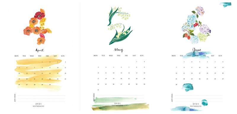 【無料】#今日の小仕事 カレンダー(2021年4月・5月・6月分) 2