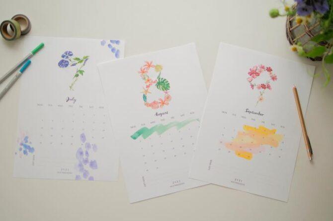 【無料】#今日の小仕事 カレンダー(2021年7月・8月・9月分)