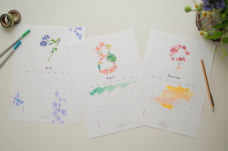 【無料】#今日の小仕事 カレンダー(2021年7月・8月・9月分) 1