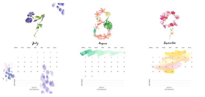 【無料】#今日の小仕事 カレンダー(2021年7月・8月・9月分) 2